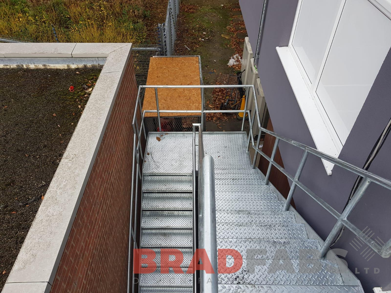 Steel galvanised fire escape staircase for a substation by Bradfabs
