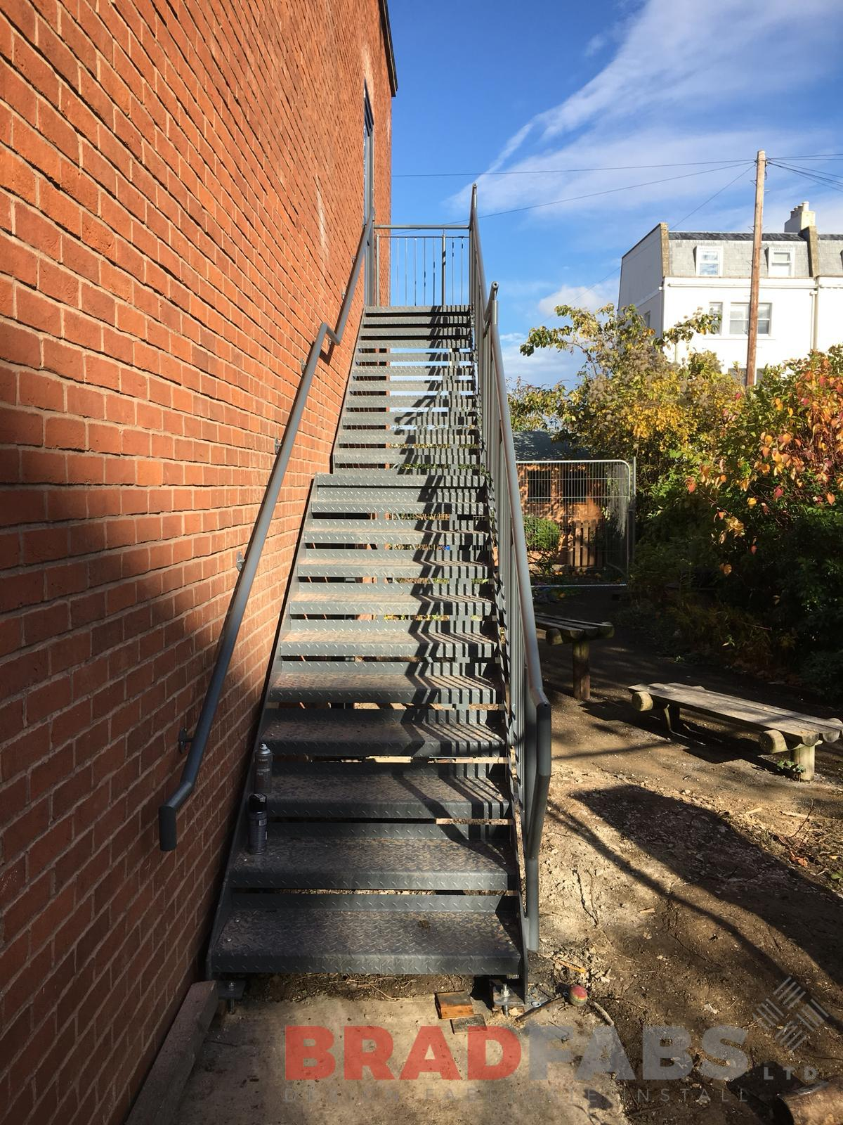 Galvanised and powder coated School access fire escape staircase by Bradfabs