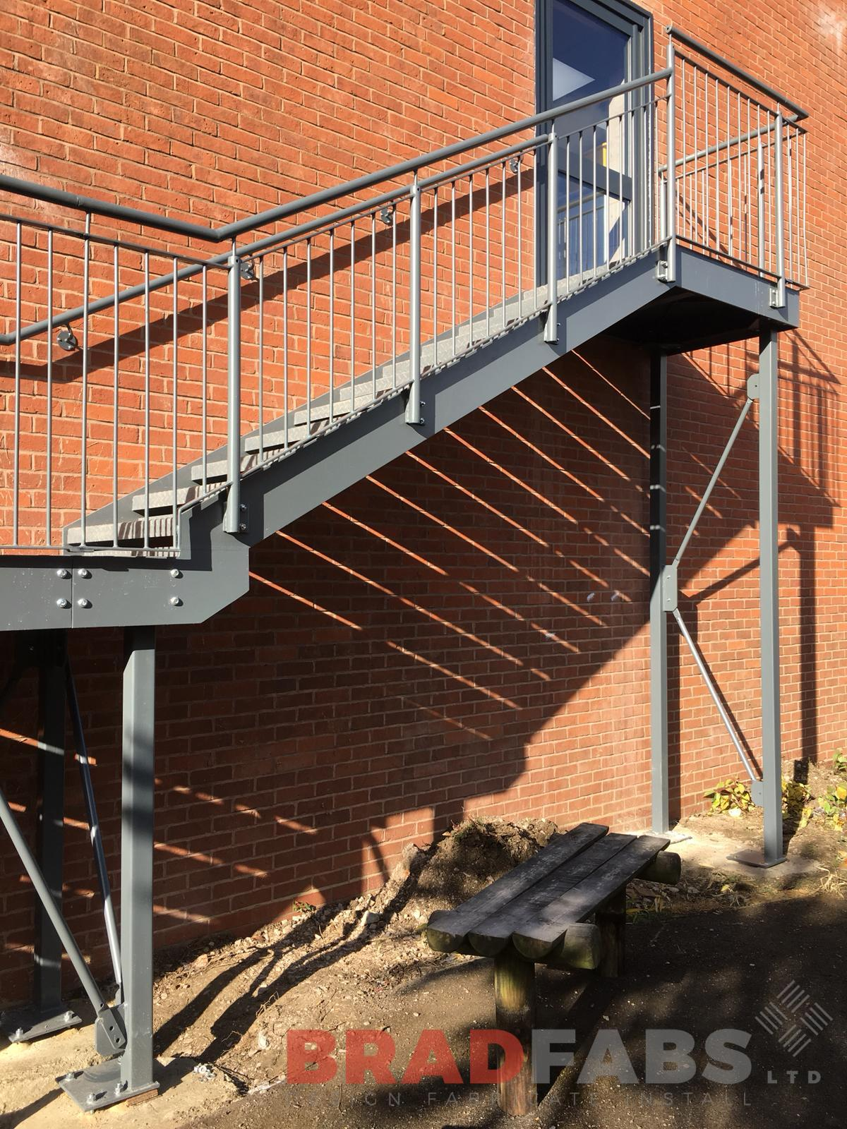 School Fire Escape designed manufactured and installed by Bradfabs
