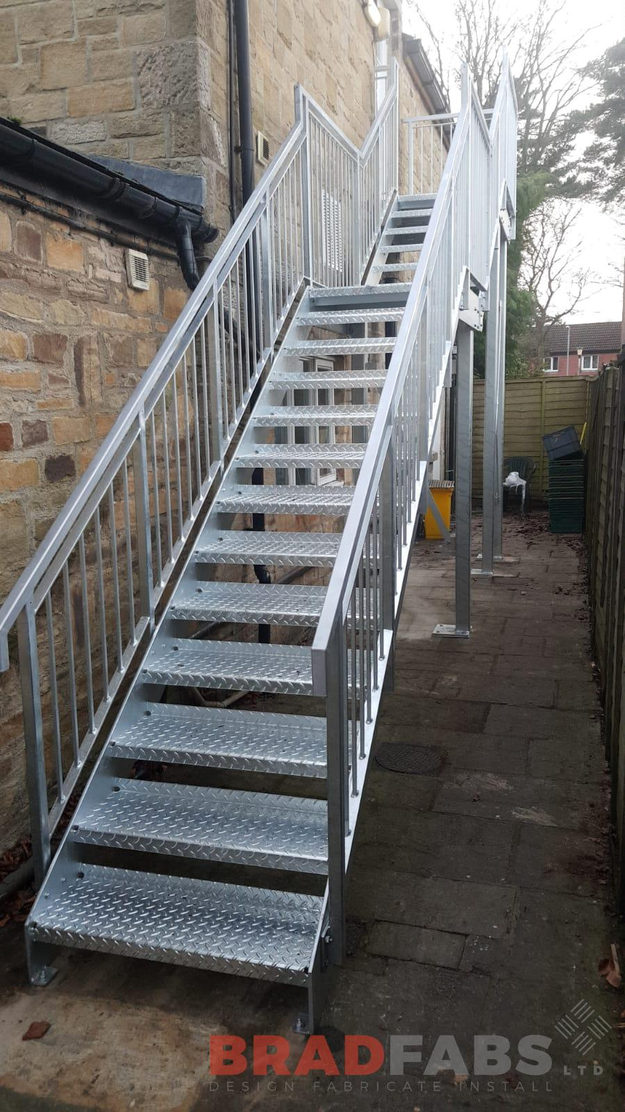 Mild steel, Galvanised, Powder Coated, External Fire Escape, Durbar Treads, Staircase