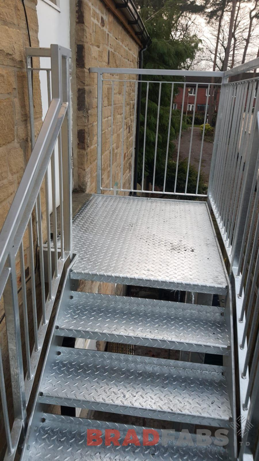 Mild steel, Galvanised, Powder Coated, External Fire Escape, Durbar Treads, Staircase, Landing, Vertical Bar Balustrade