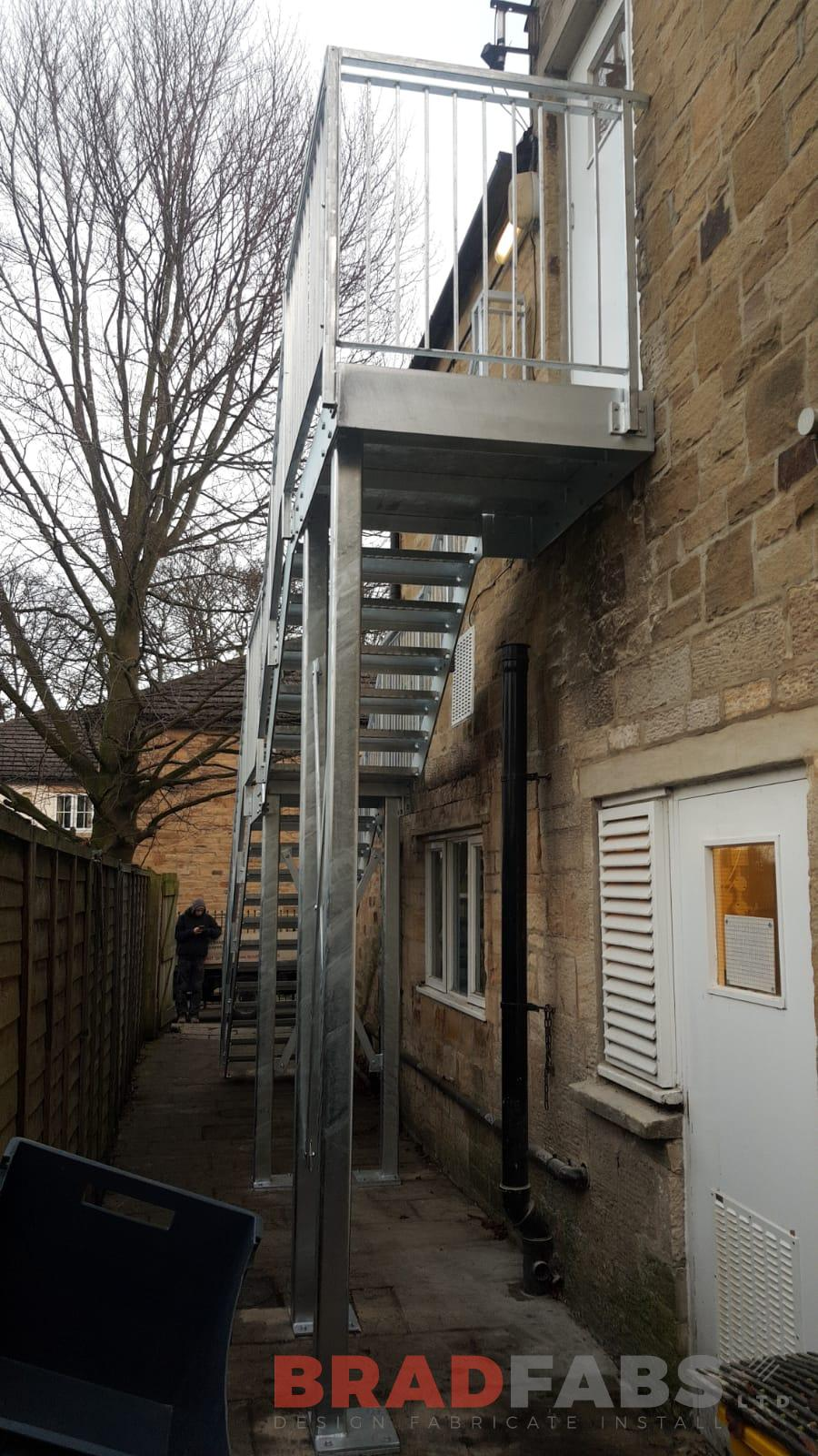 Metal Fire Exit Staircase installed by Bradfabs