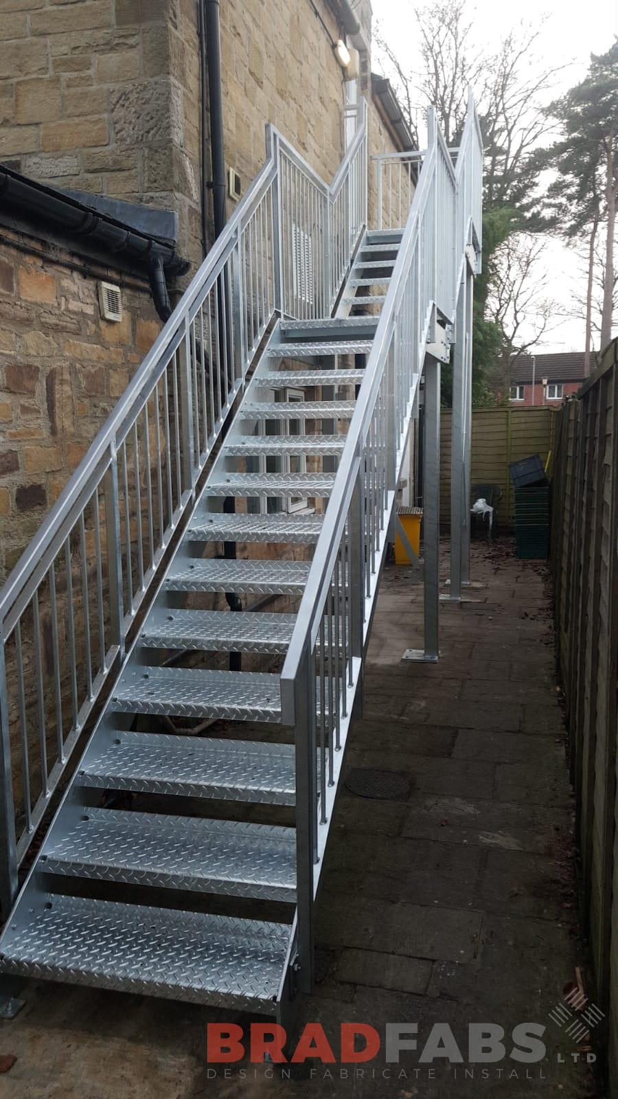 External fire escape powder coated and galvanised by Bradfabs UK
