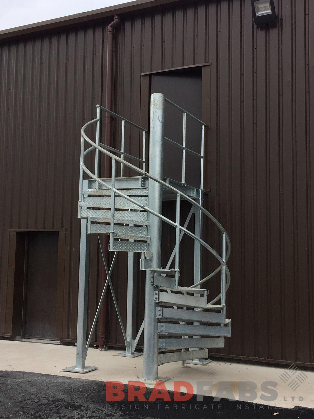 mild steel, galvanised fire escape with durbar treads and mid and top rail balustrade. Supply only by Bradfabs