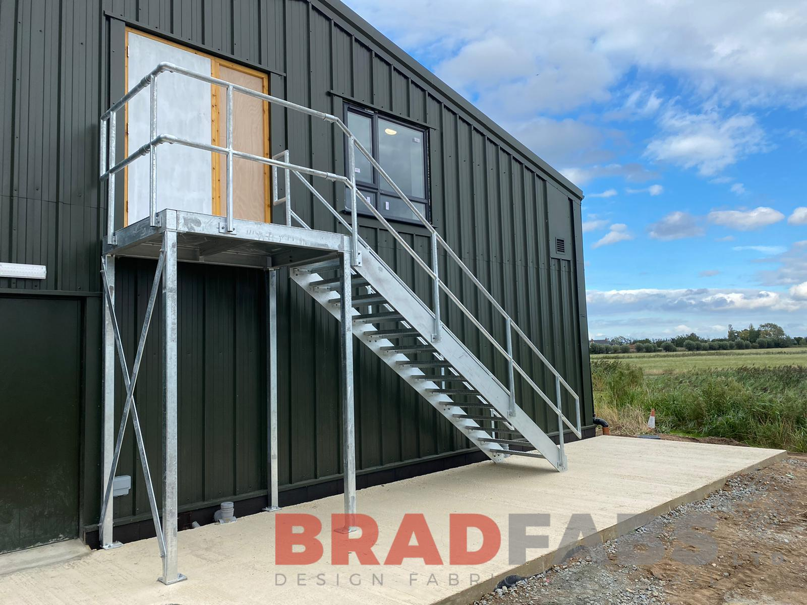 Bradfabs, fire escape, steel staircase, external staircase, galvanised staircase