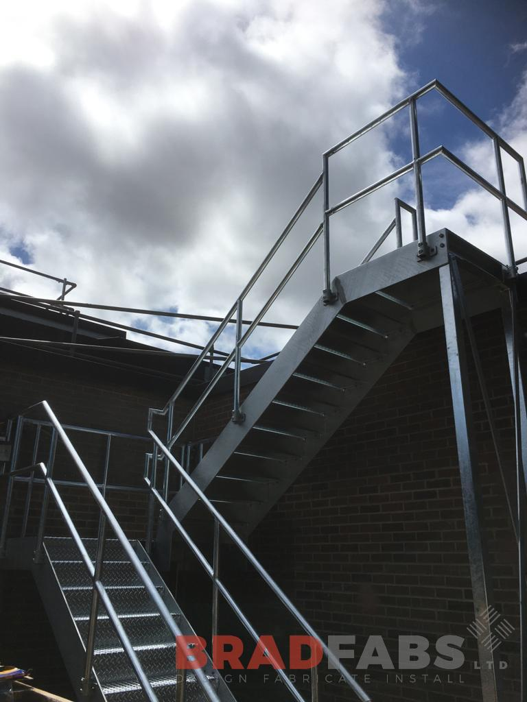 Bradfabs, external staircase, fire escape, mild stee staircase, galvanised steel, durbar treads
