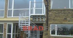 steel spiral staircase fabricated by bradfabs, external steel staircase, steel spiral staircase