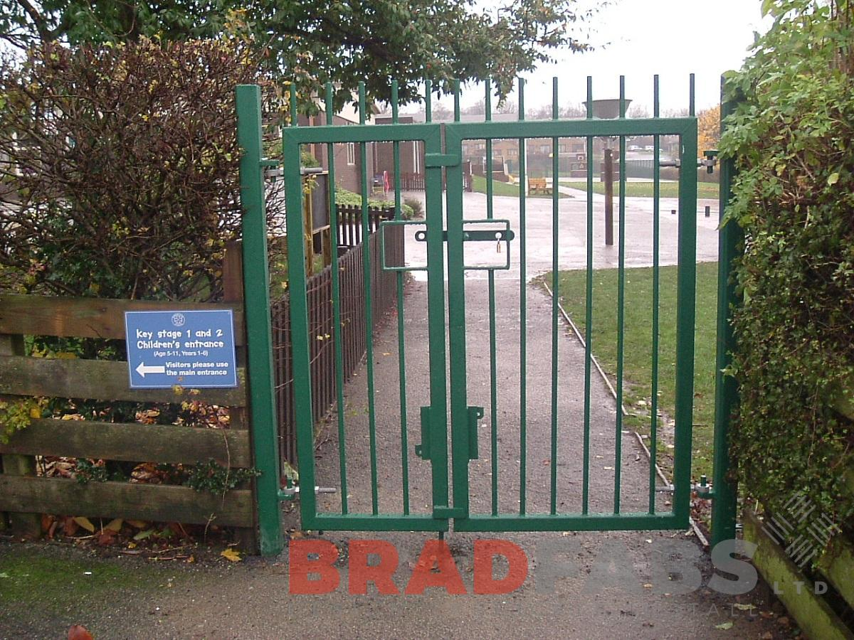 School gates, bespoke gates, mild steel, galvanised and powder coated green by Bradfabs Ltd