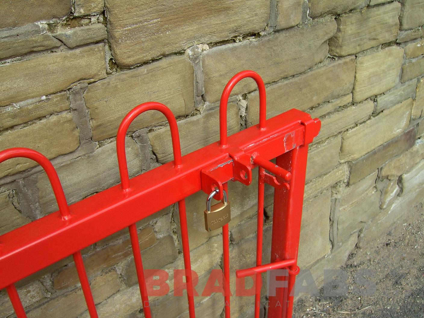 Corner of the new primary school bespoke gates, powder coated red at schools choice by Bradfabs