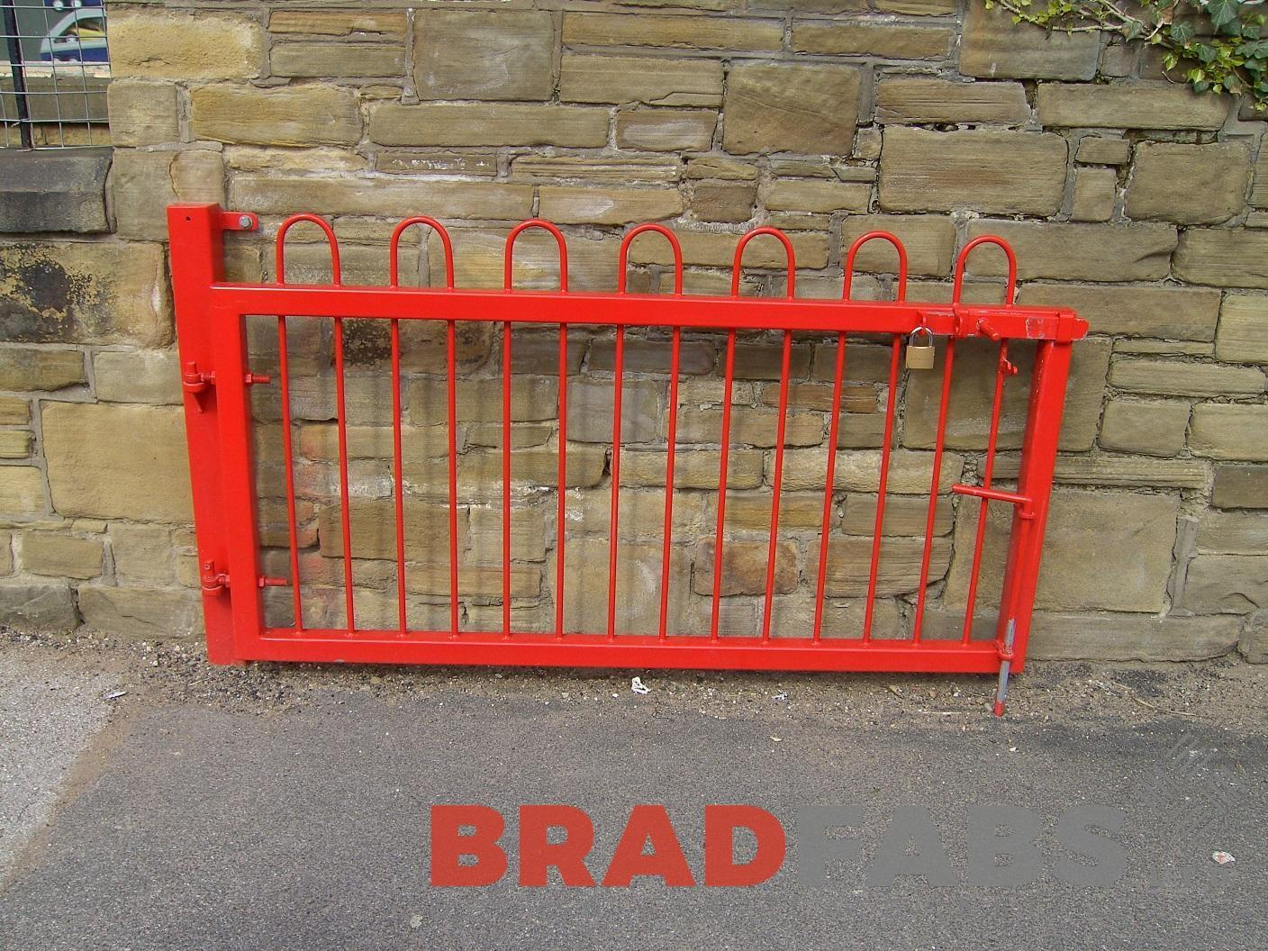 Bespoke gates, mild steel, galvanised and powder coated red by bradfabs ltd