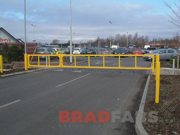 mild steel, galvanised and powder coated gates for a supermarket by Bradfabs