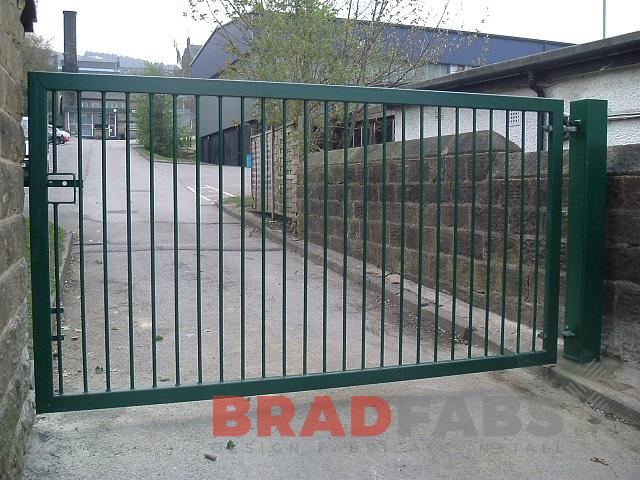 mild steel, galvanised and powder coated green gates by bradfabs ltd