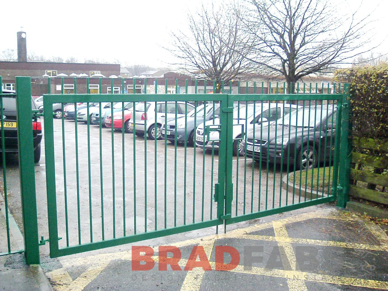 Mild steel, galvanised and powder coated gates for school car park by bradfabs ltd