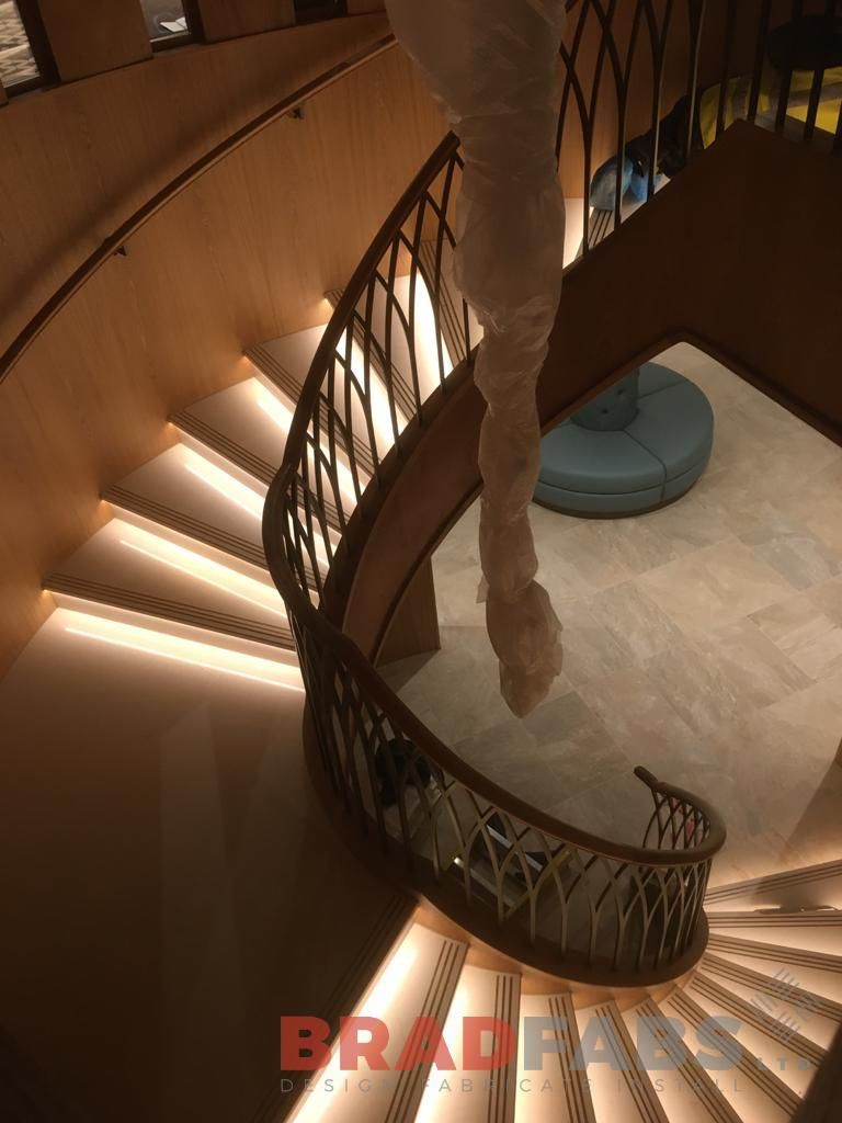 Individually designed grand staircase, with decorative balustrade by Bradfabs Ltd