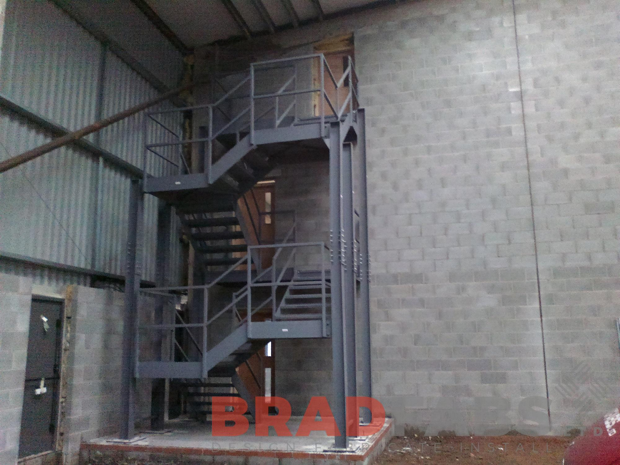 straight staircase mild steel powder coated commercial project