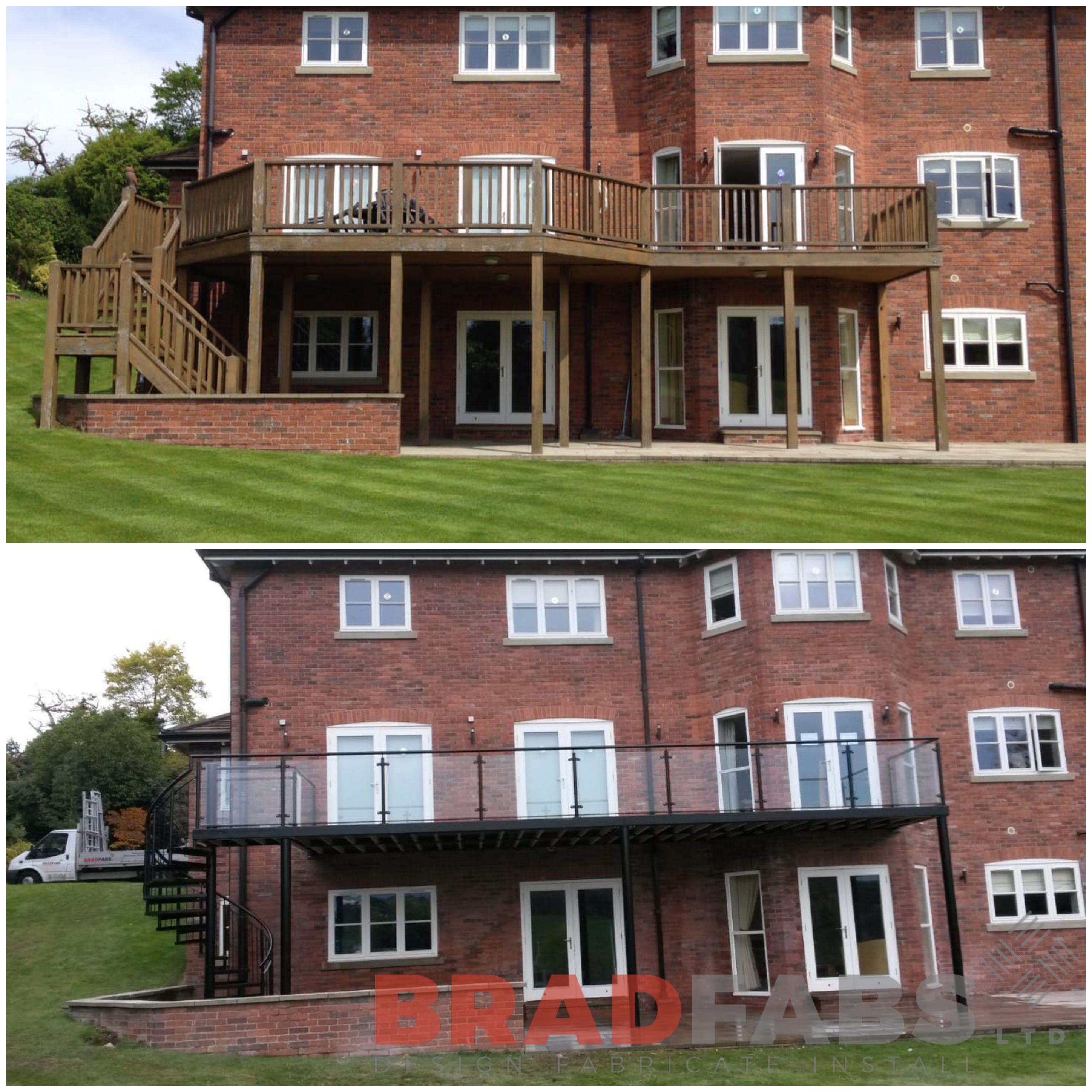 Beautifully modern balcony transformation by Bradfabs UK LTD, infinity glass balustrade with mild steel galvanised and powder coated handrail and spiral staircase at the end