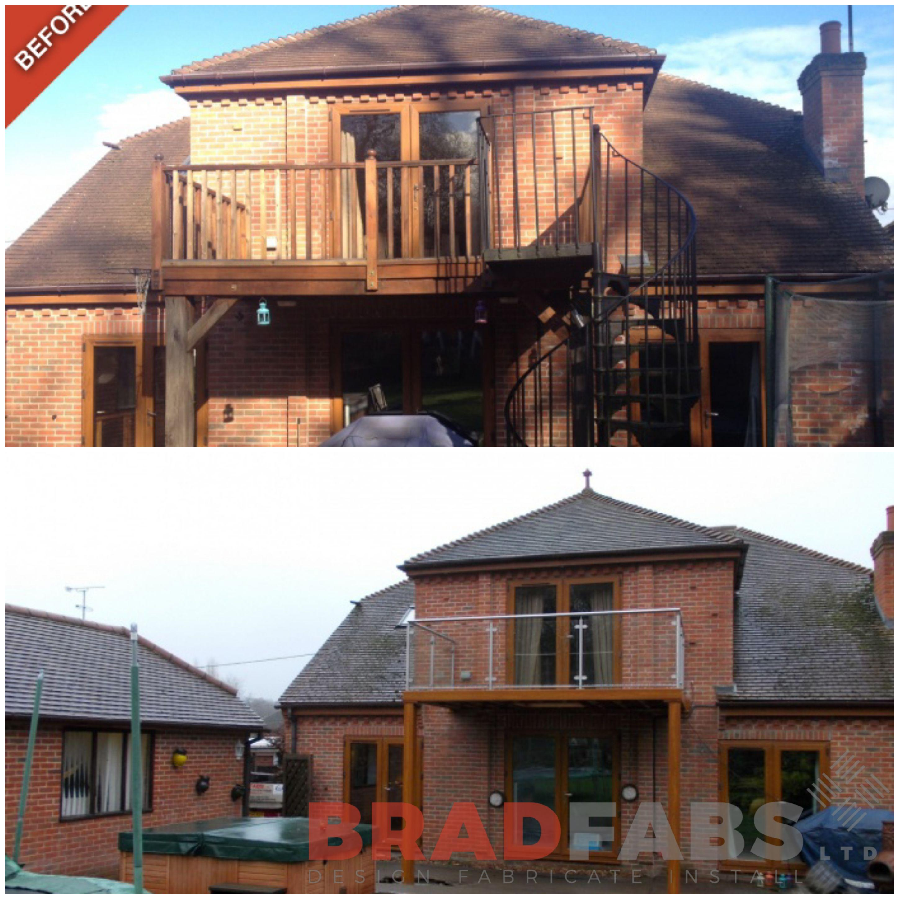 Amazing transformation from wooden rotten balcony to mild steel, galvanised and powder coated balcony with section of glass floor, installed, designed and fabricated by Bradfabs, UK