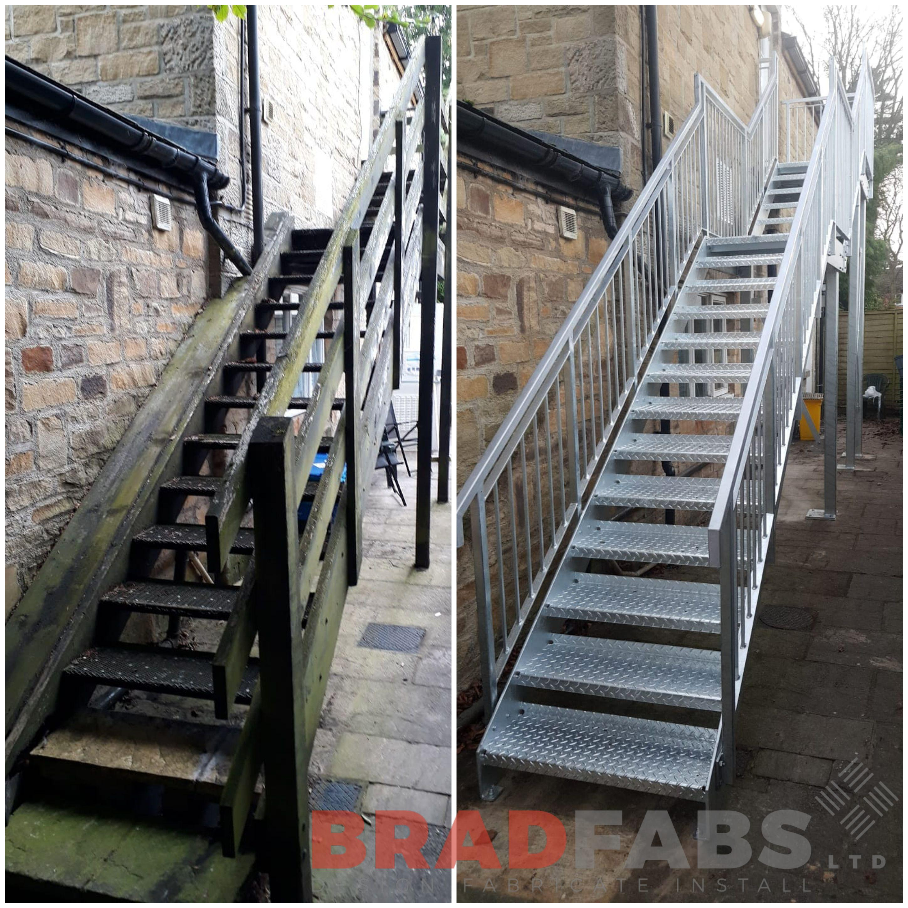 Replacement of an old rotten wooden fire escape staircase to a bespoke metal, galvanised staircase designed, manufactured and installed by Bradfabs, UK based fabrication company