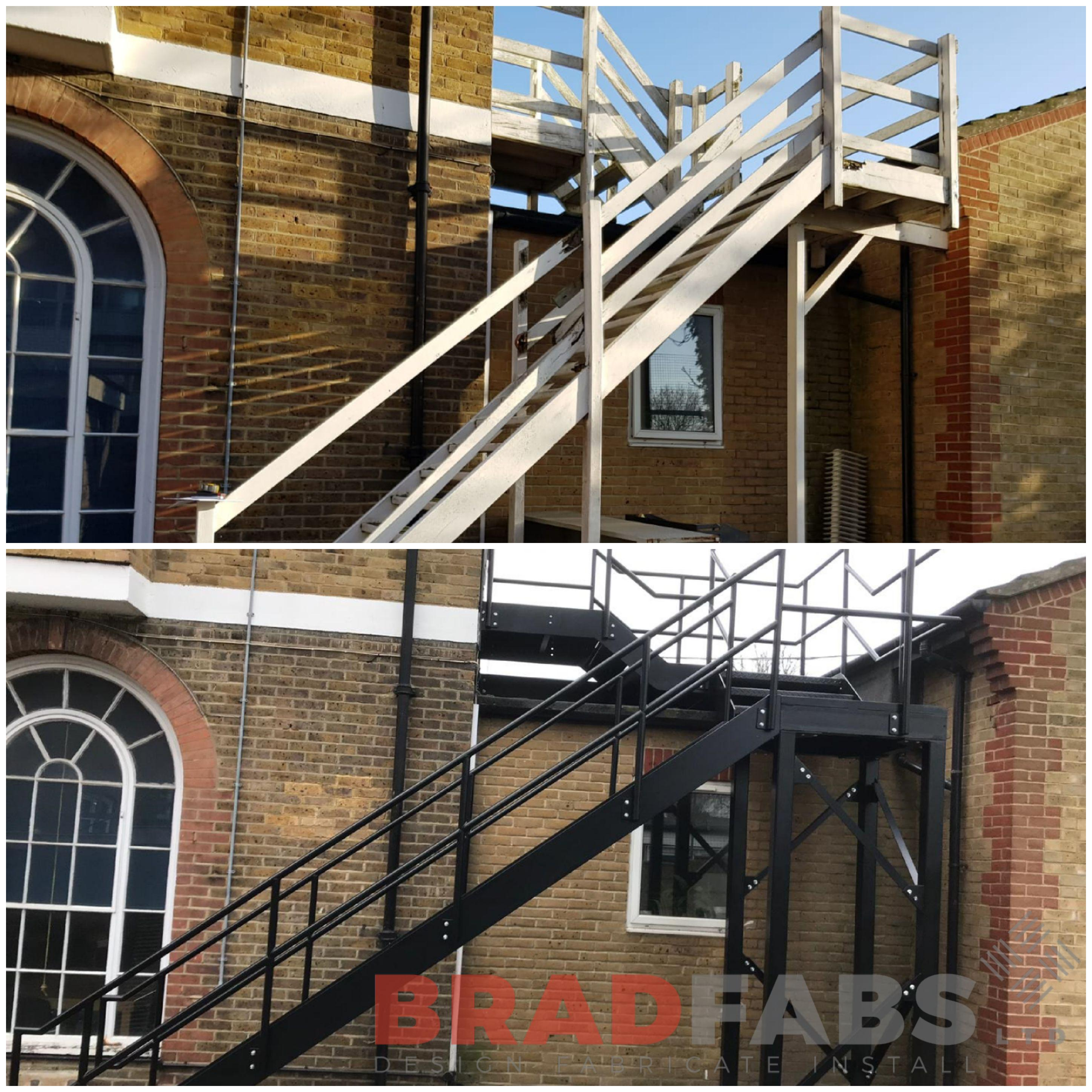 Bradfabs, transformation fire escape, mild steel fire exit, transformations, mild steel fire escape, powder coated fire escape, galvanised fire escape, durbar treads, mid and toprail balustrade