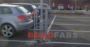 Lamp post steel protectors for car park safety, fabricated and installed by bradfabs in bradford, Bolt down or concrete in lamp post protector
