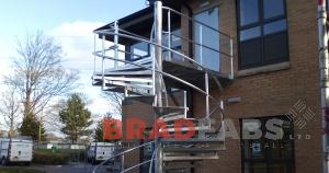 Custom made spiral staircase and fire escape, installed in North Yorkshire