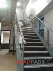 Internal Staircase with Stainless Steel and Glass Balustrade installed in Offices in West Yorkshire.