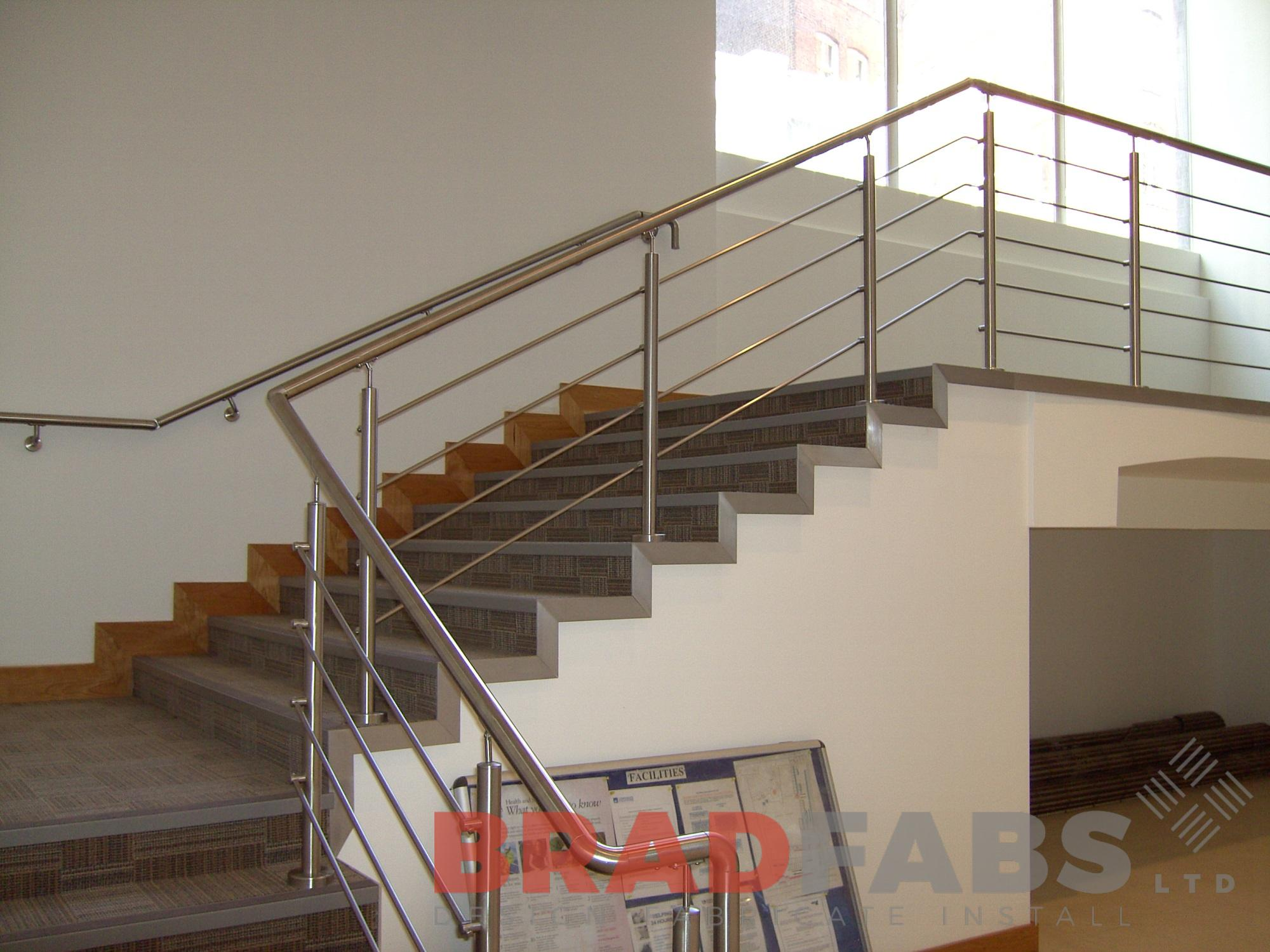 stainless stell horizontal balustrade in a commercial building