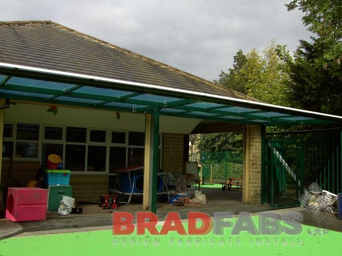 School Playground Canopy fabricated and installed in West Yorkshire by BRADFABS