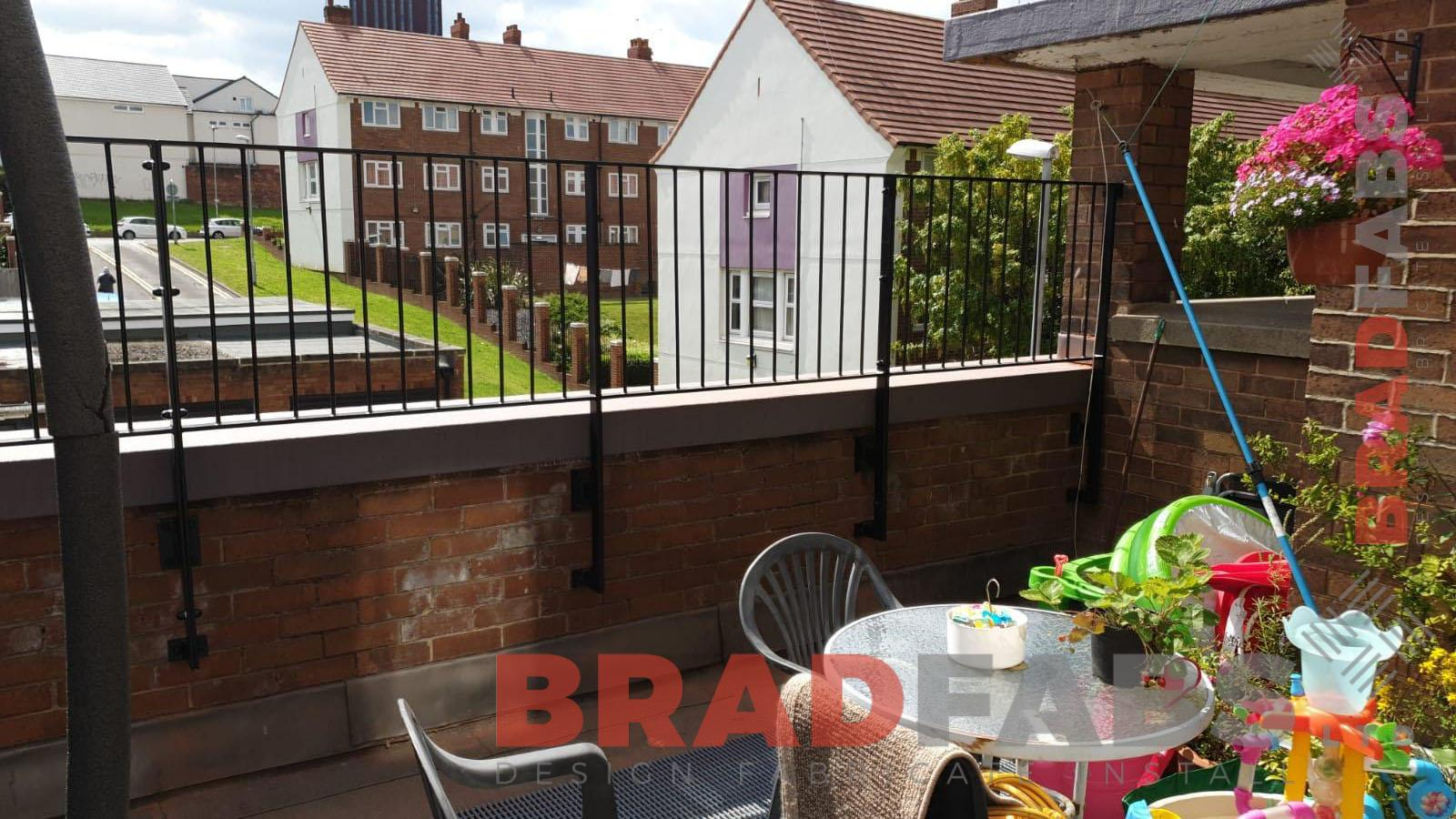 Mild steel, galvanised and powder coated vertical bar balustrade railings by Bradfabs