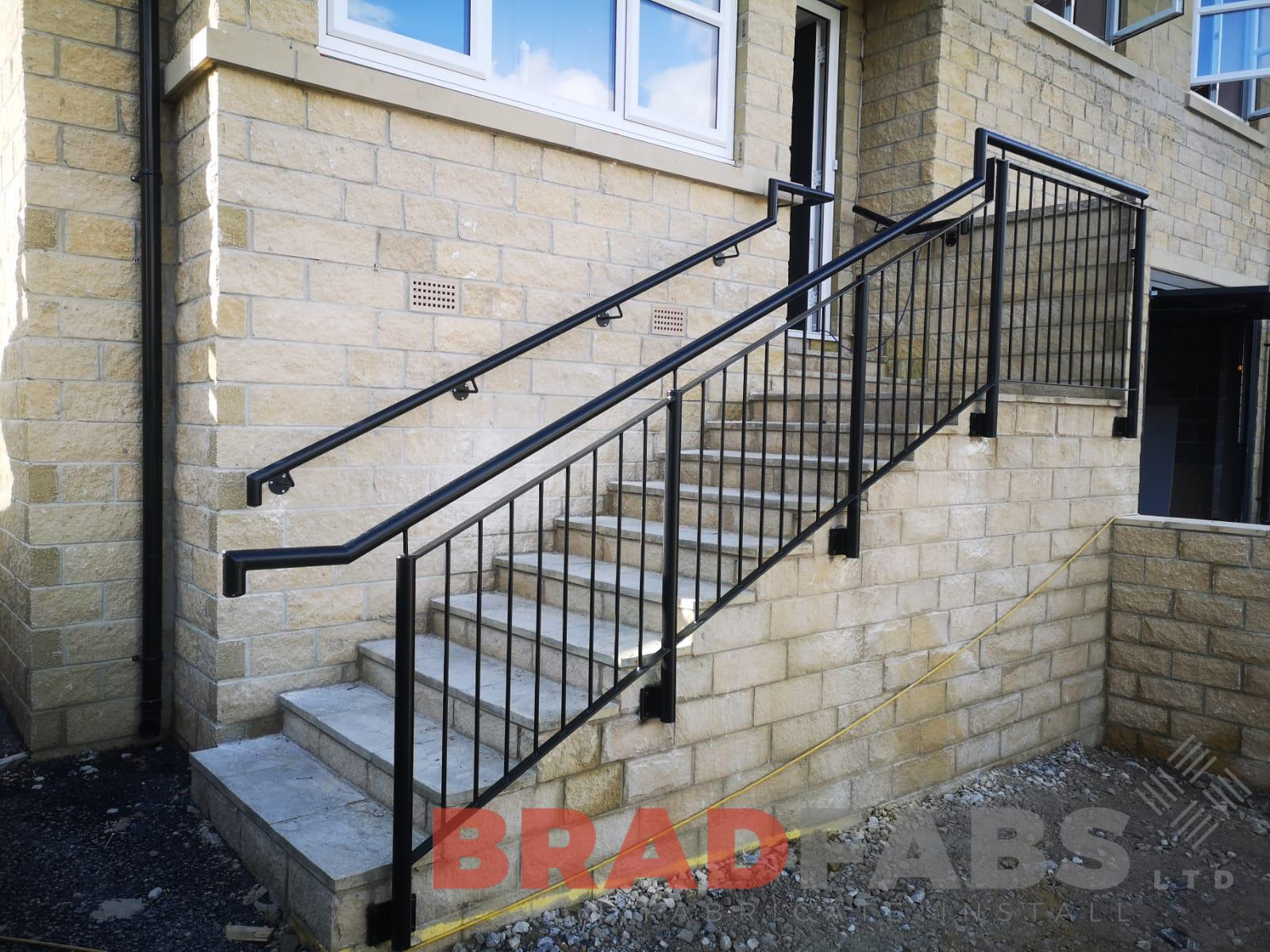 Bespoke railings and handrail mild steel galvanised and powder coated by Bradfabs