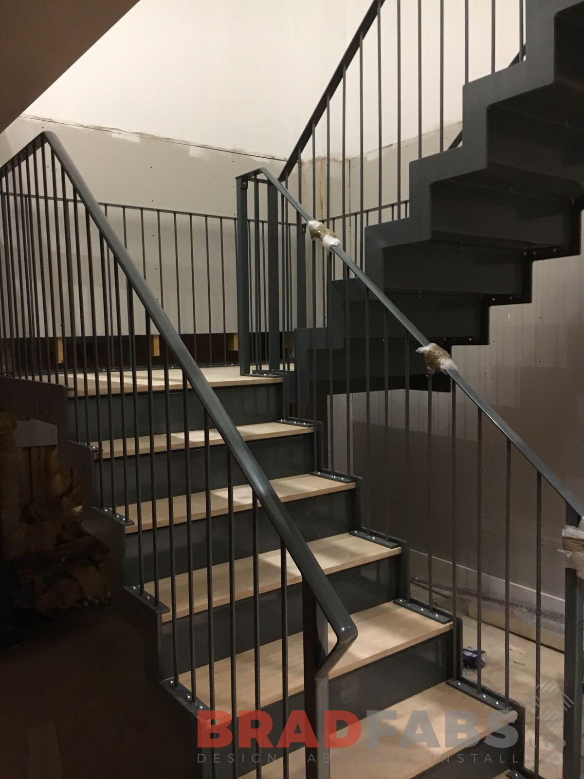 Bradfabs, bespoke cortex flat bar handrail with vertical bar balustrade for a domestic property