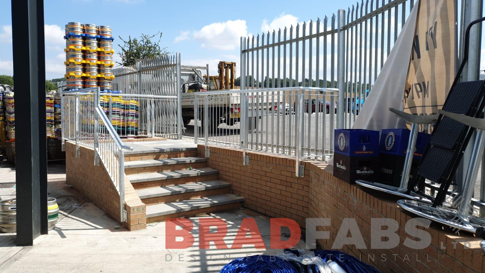 mild steel railings, bespoke commercial property railings by Bradfabs