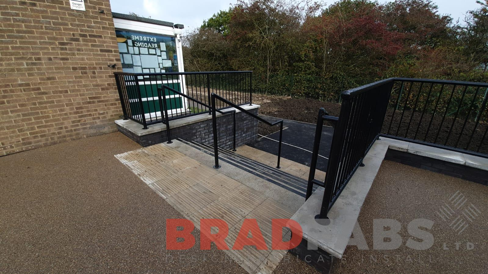 mild steel, galvanised and powder coated black railings for a school, by Bradfabs Ltd