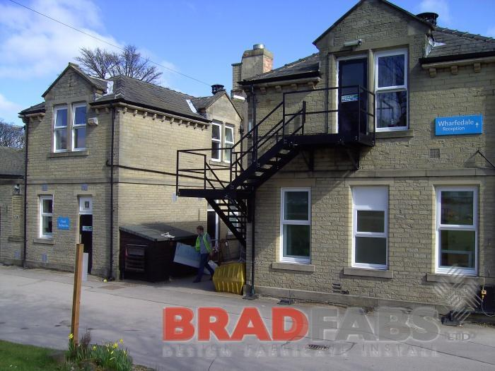 External staircase, emergency exit stairs, galvanised, powder coated, mild steel, Bradfabs UK