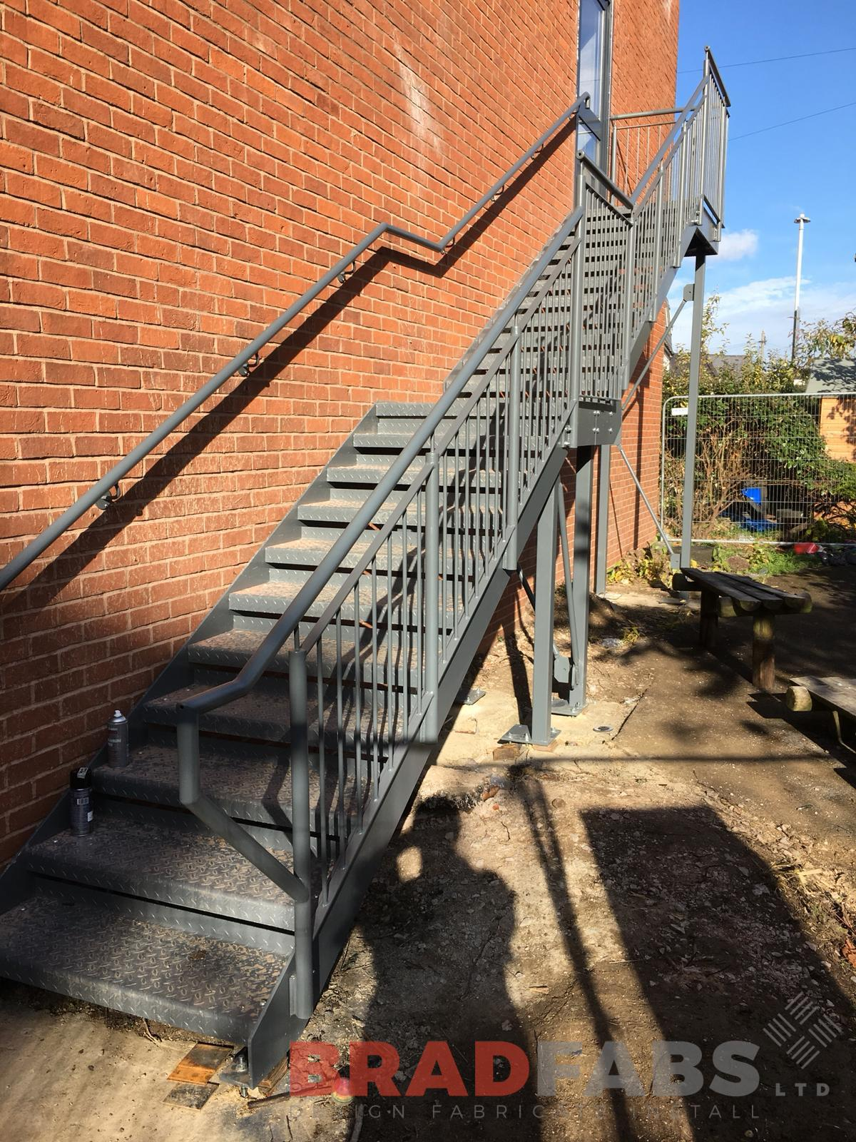 School Fire escape manufactured, designed and installed by Bradfabs