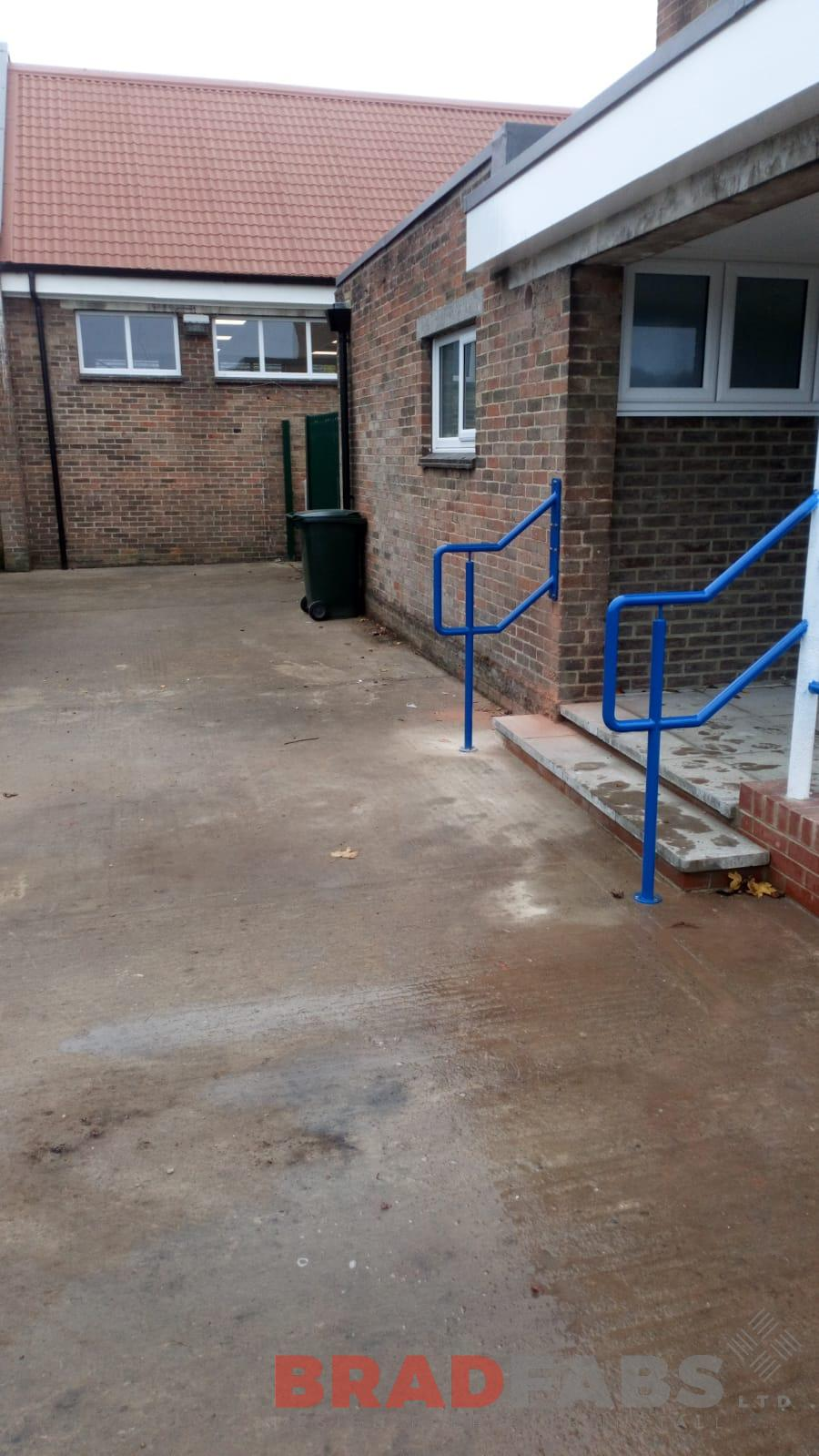Mild steel, galvanised and powder coated railings for school by bradfabs