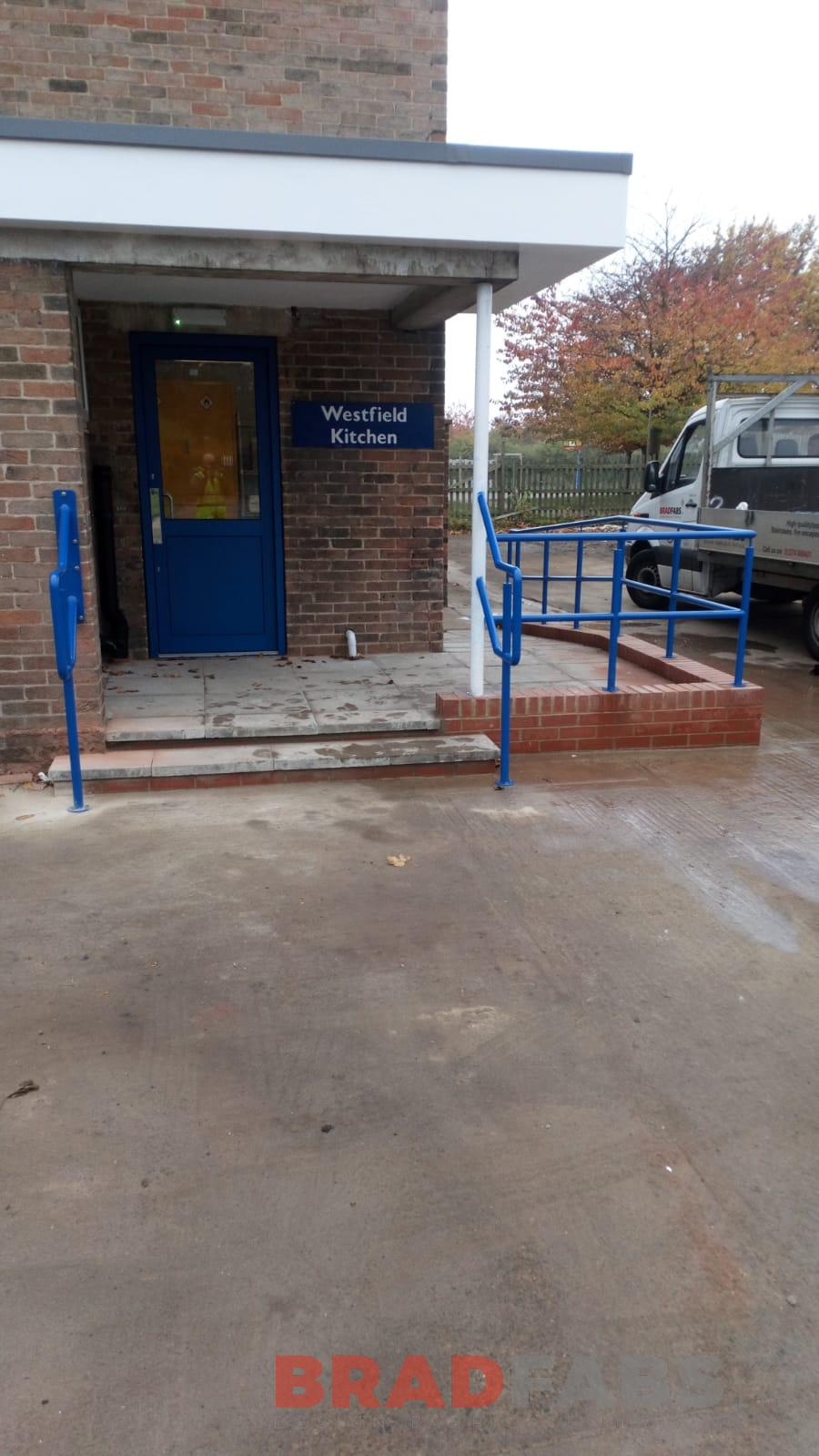 Outside school steel railings