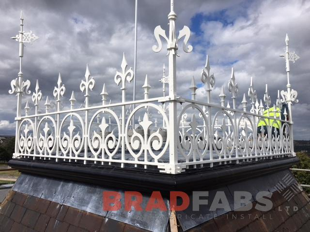 mild steel, galvanised and powder coated white railings for a school roof by Bradfabs Ltd