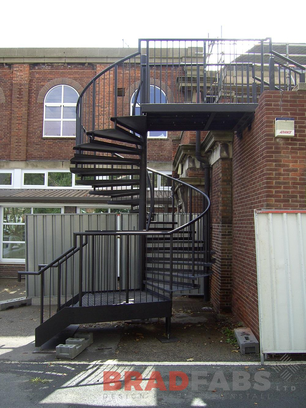 Spiral staircase installed in leeds, external spiral staircase for commercial use, spiral staircase fabricated in bradford by bradfabs