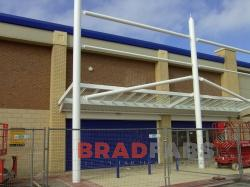 Retail Park Canopy installed by BRADFABS in Loughborough, UK