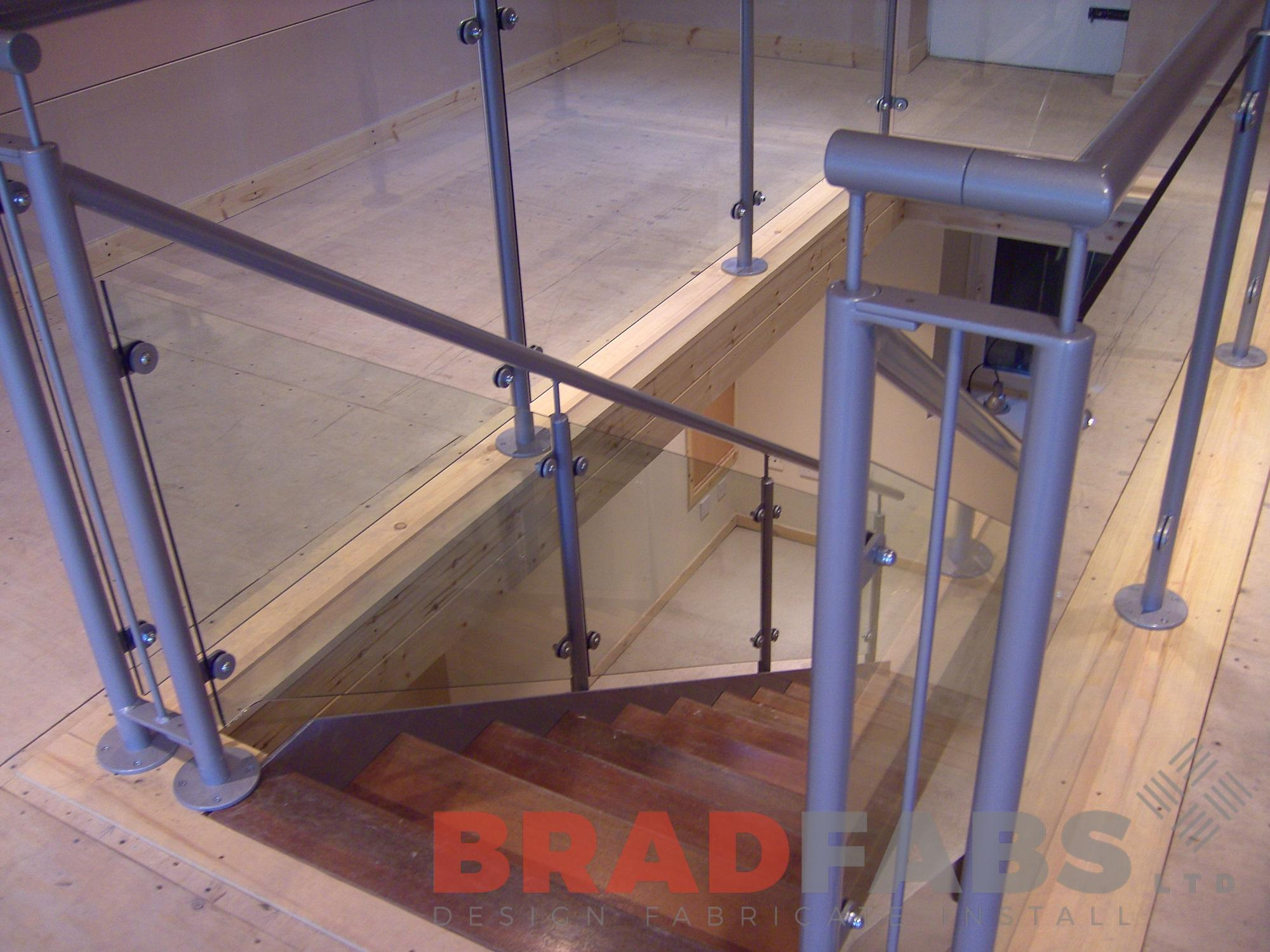 Straight staircase mild steel handrails powder coated glass balustrade
