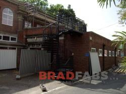 Fire escape manufactured, designed and installed by Bradfabs