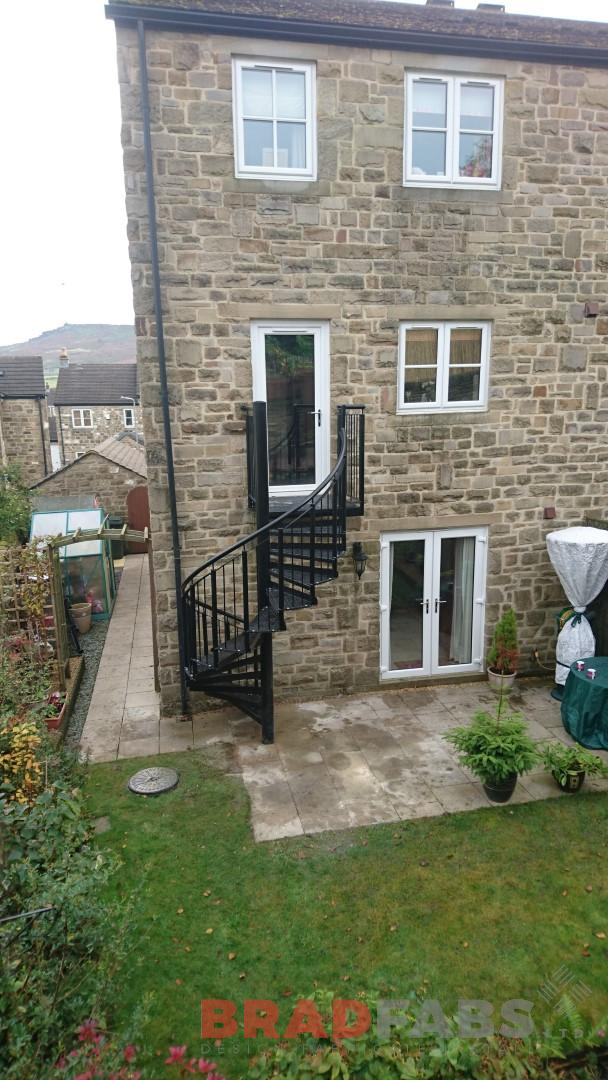 Bradfabs designed and installed this garden fire/access staircase