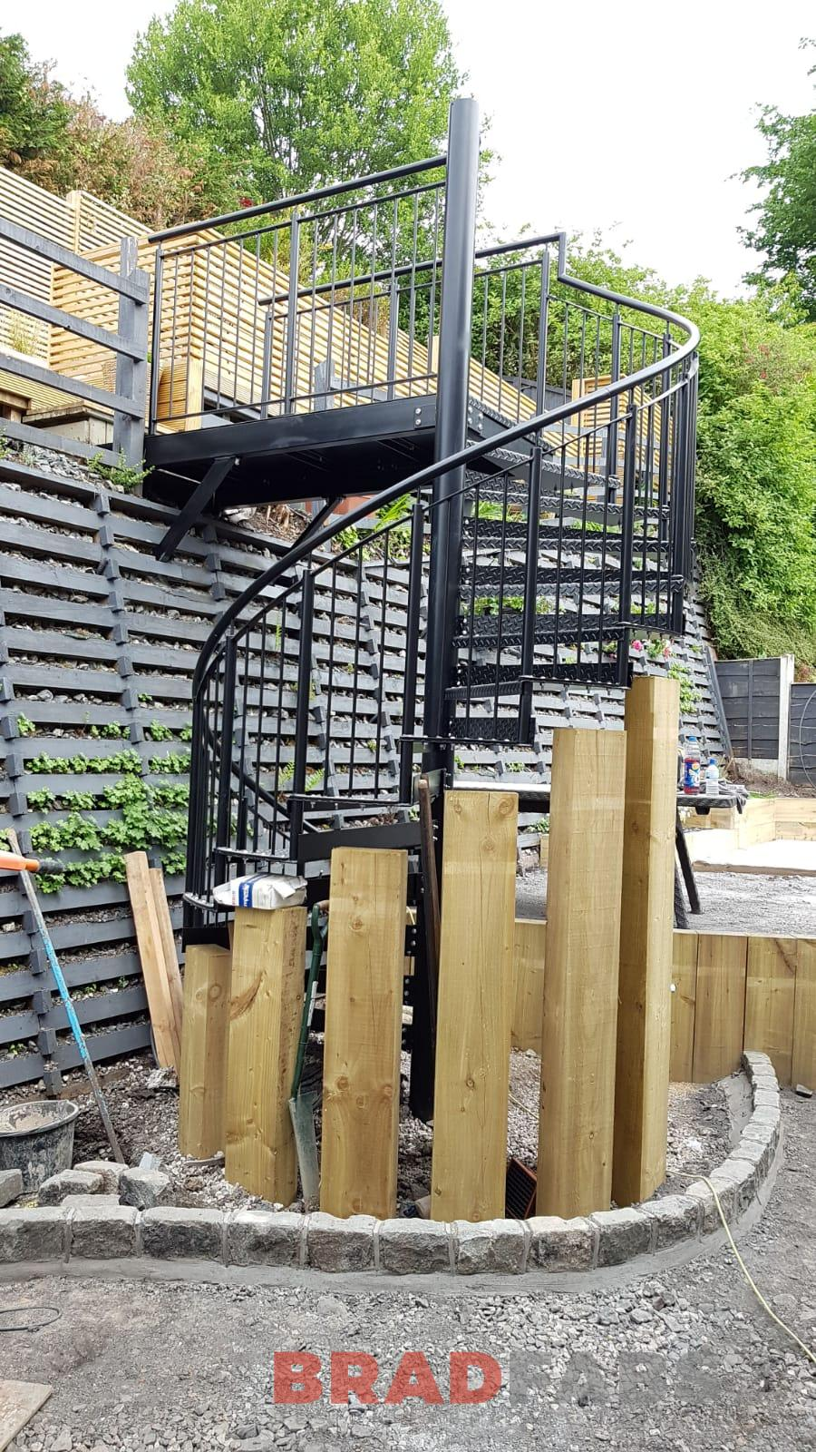 Metal spiral to access large decked area by Bradfabs