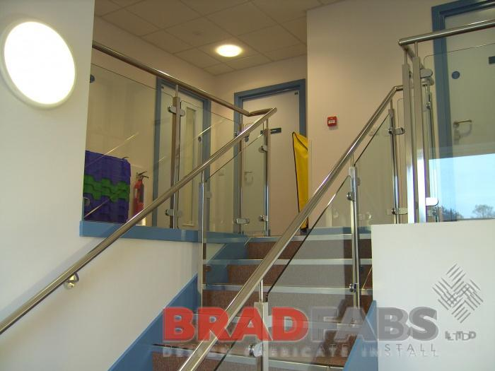 Glass and steel balustrading manufactured in bradford, Steel and glass staircase balustrade fitted in a doctors surgery in Bradford