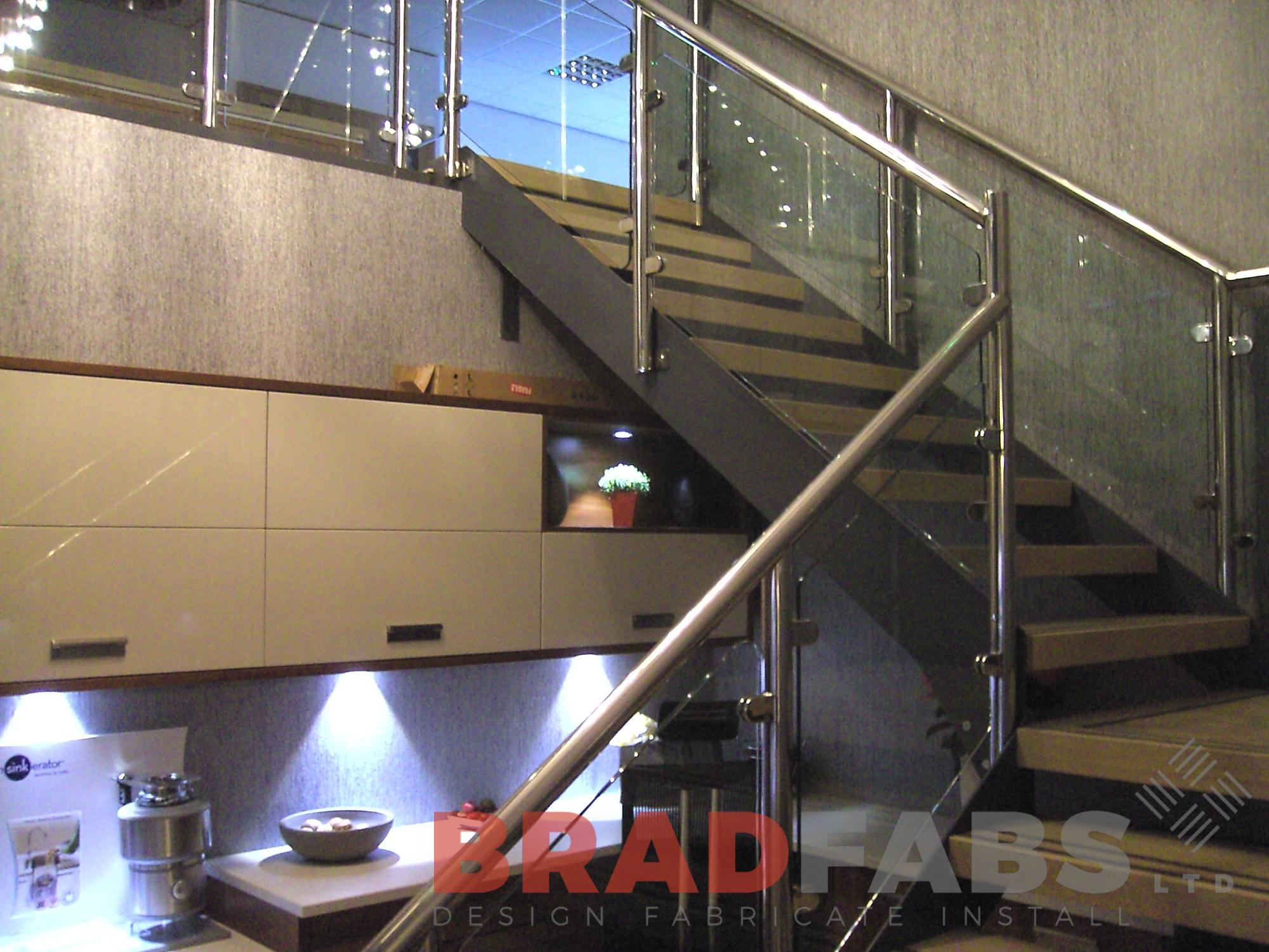 Stainless steel handrail open treads modern straight staircase