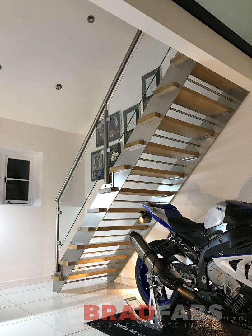 Straight Staircase with oak Treads & stainless steel balustrade
