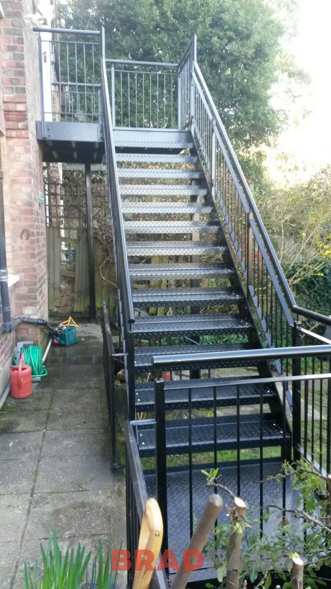 Powder Coated Mild Steel External Staircase