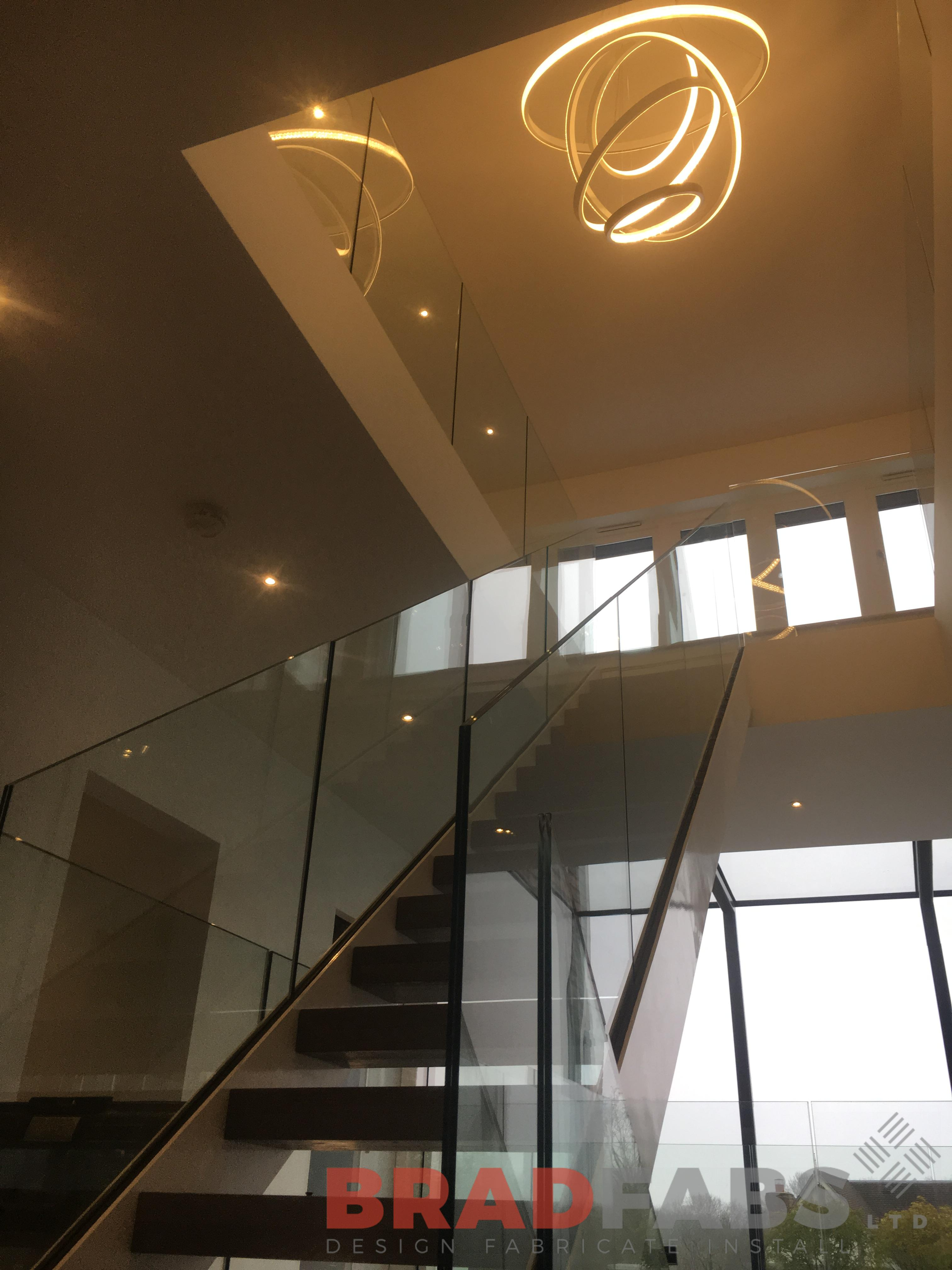 beautiful steel and glass staircase manufactured by bradfabs