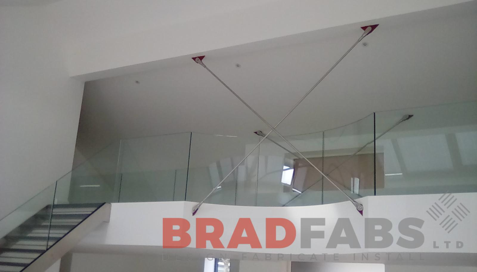 Staircase Balustrade with safety bars, infinity glass balustrade